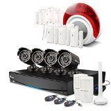 Swann SWVAK-834254C Integrated Video & Alarm Security System (8 Channels, 960H Resolution, 1TB Recording, 4 x Pro-735 Cameras, Alarm Sensors & Siren, and 82′ Night Vision)