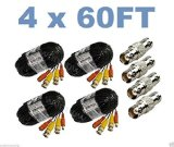 wennow (4) Pack 60ft Pre-made All-in-One Video and Power for Swann CCTV Security Camera